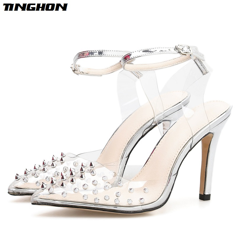 TINGHON Women Sandals Buckle Strap Bordered Rivet High Heels Fashion Summer Sexy Party Female Shoes