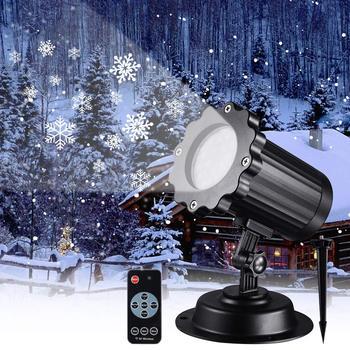 กันน้ำ Moving Snowflake เลเซอร์โปรเจคเตอร์ Stage Disco light กลางแจ้ง Snowfall เลเซอร์ Light Christmas Party โคมไฟภูมิทัศน์สวน