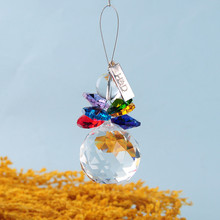 2PCS Clear Colorful Rainbow 30mm Crystal Ball Christmas Snowman Hanging Pendants Suncatcher Chandelier Part Prism Tree