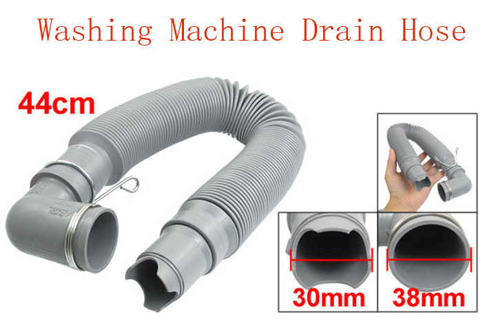 "41.3"" Long Washing Machine Water Waste Drain Hose Retractable Elbow Pipe Gray 2pcs"