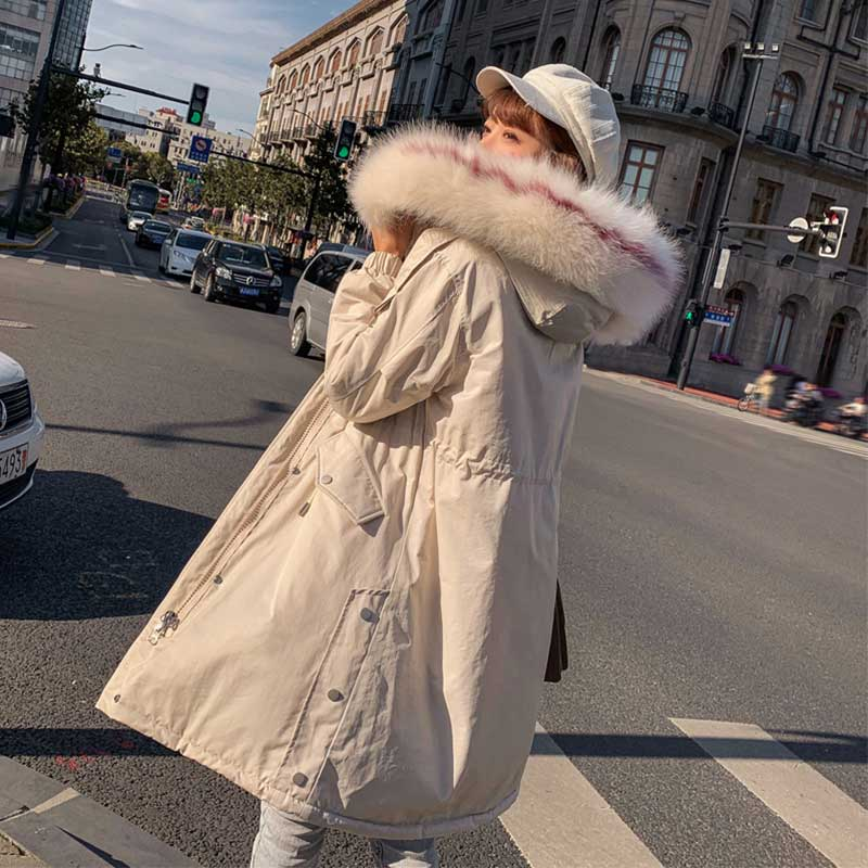 Colorful Fur   Coat   Hood Winter   Down     Coat   Jacket Thick Warm Long Cotton padded Wadded Parka Casaco Feminino Abrigos Mujer Invierno