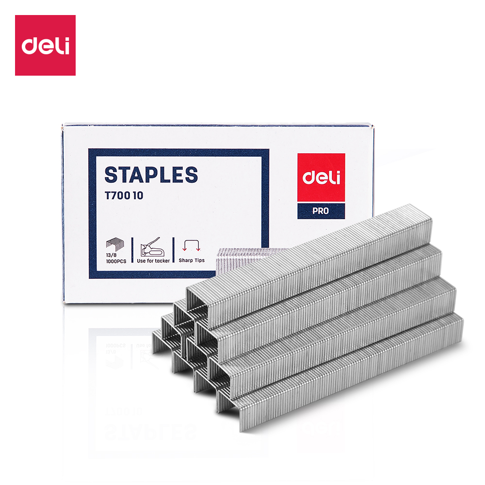 Deli ET70010 Tacker Staples 13/8  1000 Pcs Per Box Zinc Plated Wire Iron