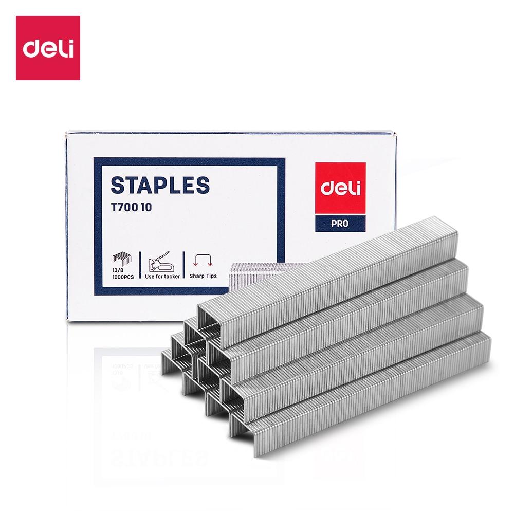 Deli ET70010 Tacker Staples 13/8  1000 Pcs Per Box Zinc Plated Wire Iron