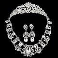 Moda 2015 Corea corona de la novia de cristal collar de corazón pendientes mujeres sistemas de la Joyería de plata del ópalo rosa de plata de acero inoxidable 925