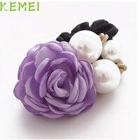 GRAACEFUL  Elegant Women Satin Ribbon Purple Rose Flower Pearls Hairband Ponytail Holder Hair Care  Mar4