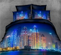 Fundas Nórdicas 3D Night city juego de cama colchas de cama de estilo occidental en una hoja de la bolsa de lino edredón queen tamaño completo sábana doble