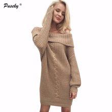 2017 Women Long Sleeve Sexy Slash neck Mini Sweater Dresses Casual Autumn  Dress Knitwear Pullover Jumper Sweater Dress Vestidos aa63aa30fba4