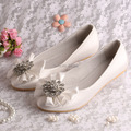 (20 Colors) Hot Selling Latest Big Bow Bridal Flat Wedding Shoes for Women Off-white Satin