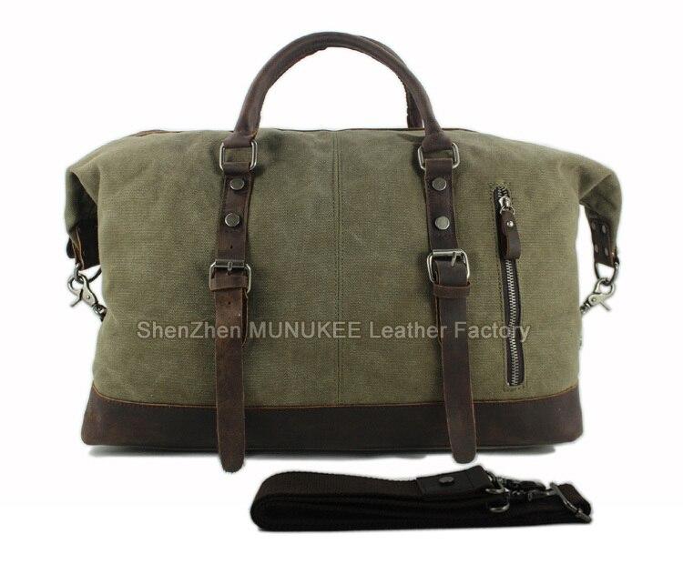 ทหารผ้าใบหนังผู้ชายกระเป๋าเดินทางกระเป๋าเดินทางกระเป๋าขนาดใหญ่หนังผู้ชาย Duffle ใหญ่ Weekend bag-ใน กระเป๋าเดินทาง จาก สัมภาระและกระเป๋า บน   3