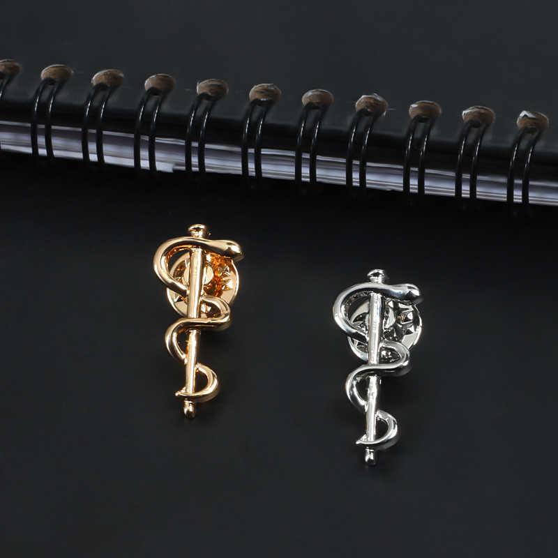 جديد منظمة الصحة العالمية منظمة الصحة العالمية شعار بروش الذهب والفضة ثعبان Caduceus دبابيس معاطف للأطباء والممرضات الطبية العافية رمز شارة مجوهرات