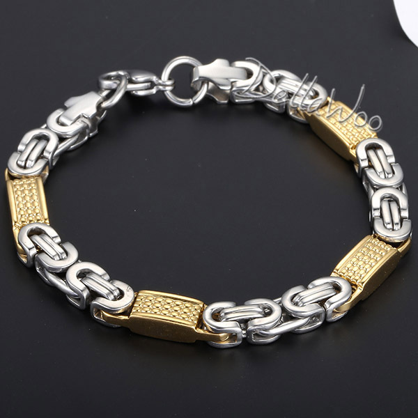 New 8mm Mens Chain Boys Bracelet Gold Silver Tone Flat Byzantine Link Stainless Steel 7 11inch Fashion Gift Dkb403 In Bracelets From