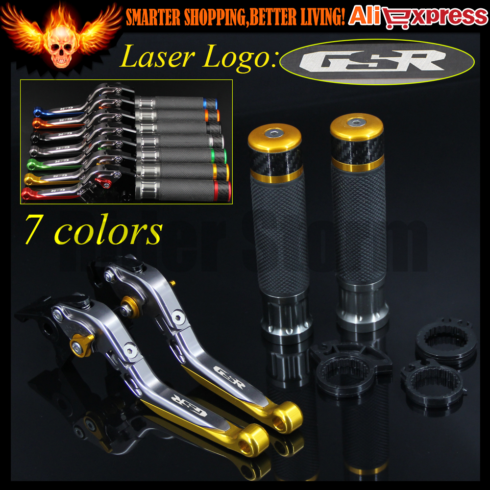ФОТО 7 Colors Gold+Titanium CNC Motorcycle Brake Clutch Levers and Handlebar Hand Grips For Suzuki GSR400 2008 2009 2010 2011 2012