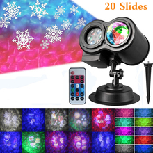2 in 1 Ocean Water Wave Christmas Projector Lights with 20 Slides Patterns Waterproof Outdoor Indoor LED Landscape Night Lights