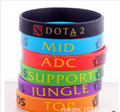 50pcs/Lot, New Trendy LOL League of Legend Wristband, Silicon Bracelet with ADC, JUNGLE, MID, SUPPORT, DOTA 2 Printed Band,