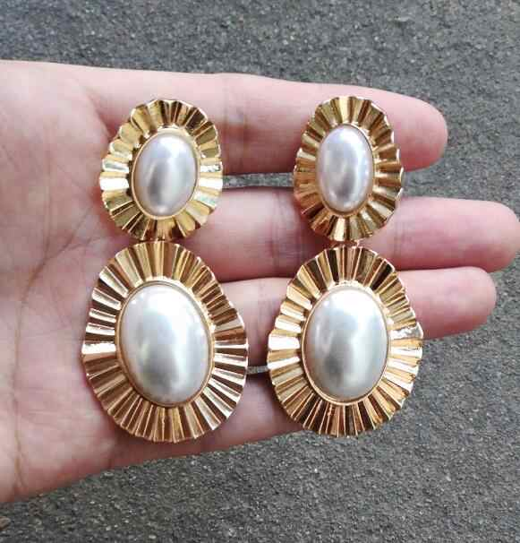 Timeless Wonder Stunning geo Baroque faux pearl Statement Earrings Girl Party prom rare simple top runway big neat gown ins 2265