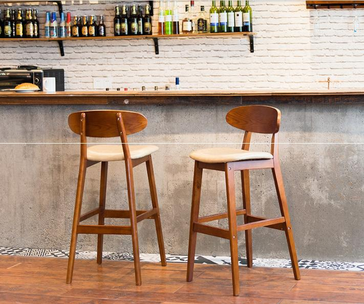 Simple Solid Wood Bar Stools Creative Retro Bar Stools