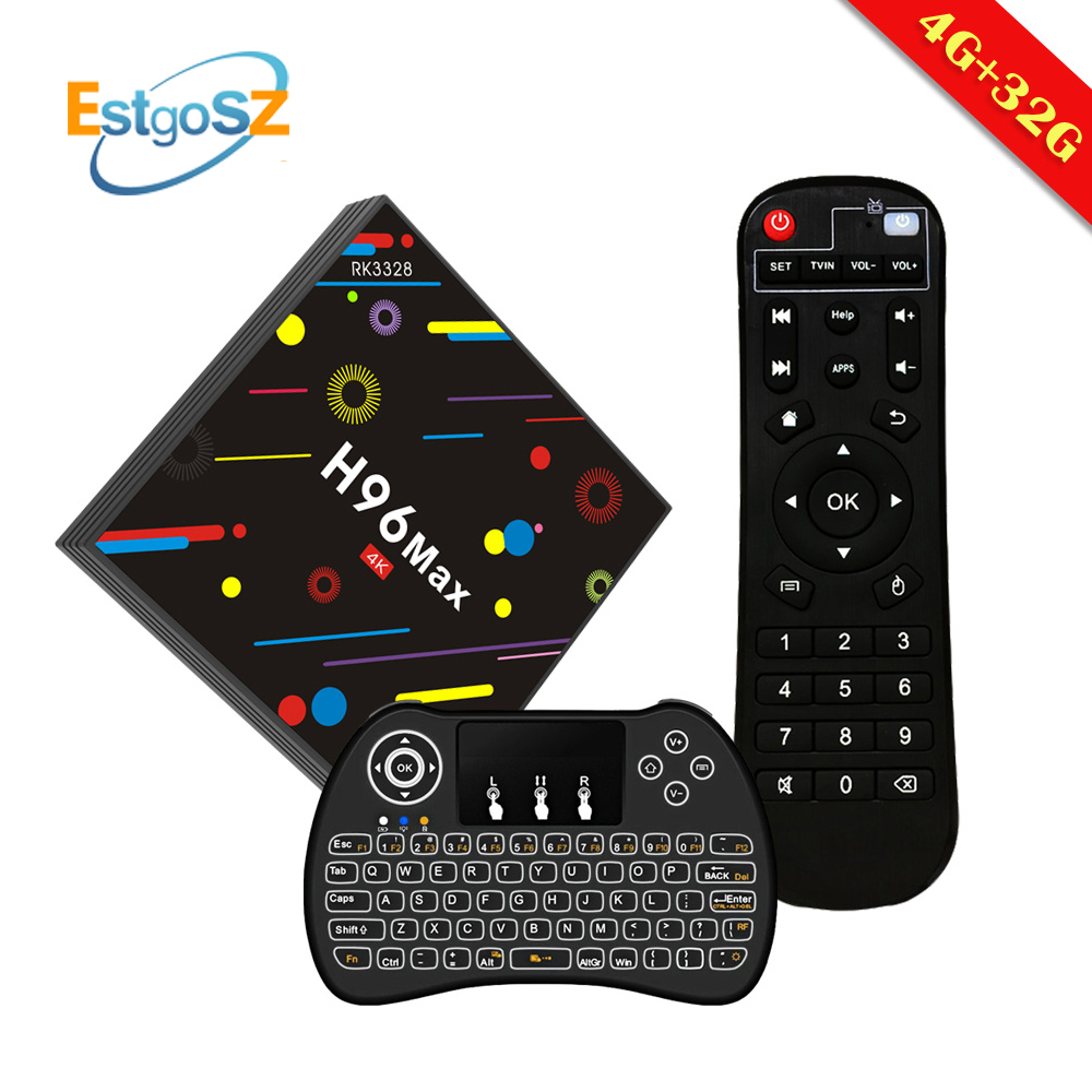 H96 Max H2 EstgoSZ Smart TV Box Android 7.1 Media Player h96pro Set Top Box RK3328 4GB 32GB Include Russian keyboard Iptv france