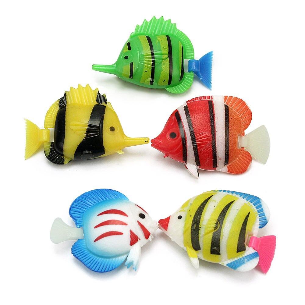 Fish tank toys - 5pcs Plastic Artificial Fake Fish Vivid Aquarium Tank Pond Ornaments Decoration Kids Swimming Pool Bath Toys