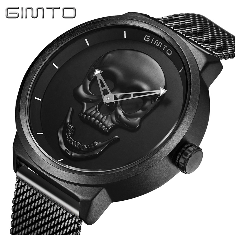 GIMTO Black Steel Sport Quartz Watch Waterproof Skull Watch Men Casual Luxury Creative Mens Watches Male Hand Clock Reloj Hombre jedir reloj hombre army quartz watch men brand luxury black leather mens watches fashion casual sport male clock men wristwatch