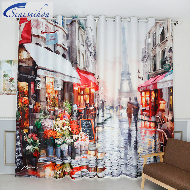 Senisaihon Blackout Curtains Europe Tour Eiffel Watercolor Oil Pattern Thickened Fabric Children Bedroom Curtain For Living