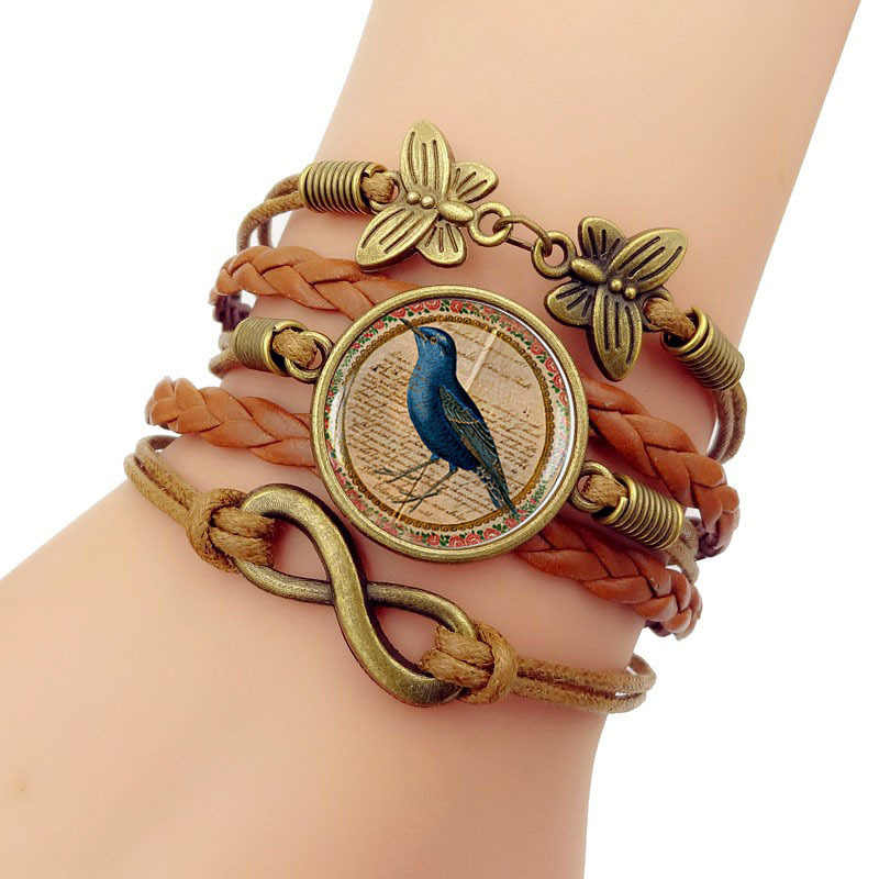 Hot Sale 2019 New Blue Bird Vintage time gem Bracelet Men Western Style Woven Bracelets Bangles For Women Fashion Jewelry Gift