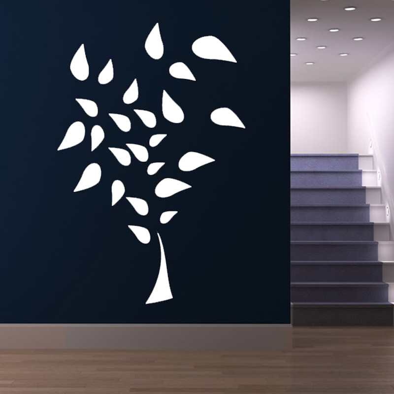 DIY Self Adhesive White Vinyl Tree Wall Decals Removable Waterproof Living Room Wall Sticker Home Decor