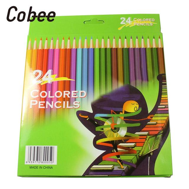 24 pièces en bois crayon de couleur effaçable école étudiants bureau papeterie dessin