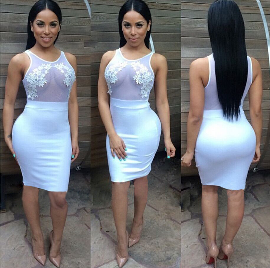 New Arrival 2017 Bodycon Dresses Women White Bandage Club Evening Party Black Mesh Patchwork Summer Casual Dress In From S