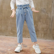 Korean Baby Girls Jeans Pants Flower High Waist Toddler Girl with Belt for Kids Casual Denim Trousers For 4- 13 Year