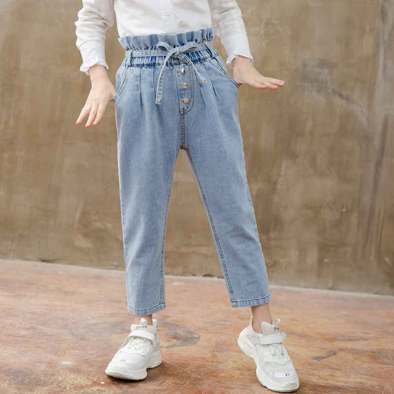 Korean Baby Girls Jeans Pants Flower High Waist Toddler Girl Jeans with  Belt for Kids Girls Casual Denim Trousers For 4 13 Year|Jeans| - AliExpress