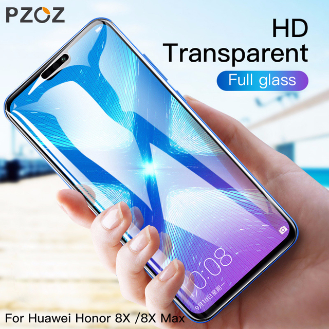 US $2 99 25% OFF|PZOZ Tempered Glass For Huawei honor 8X Max 10 8 9 lite  V10 V8 V9 Play 9i Phone Screen Protector Clear 9H HD Transparent Film-in