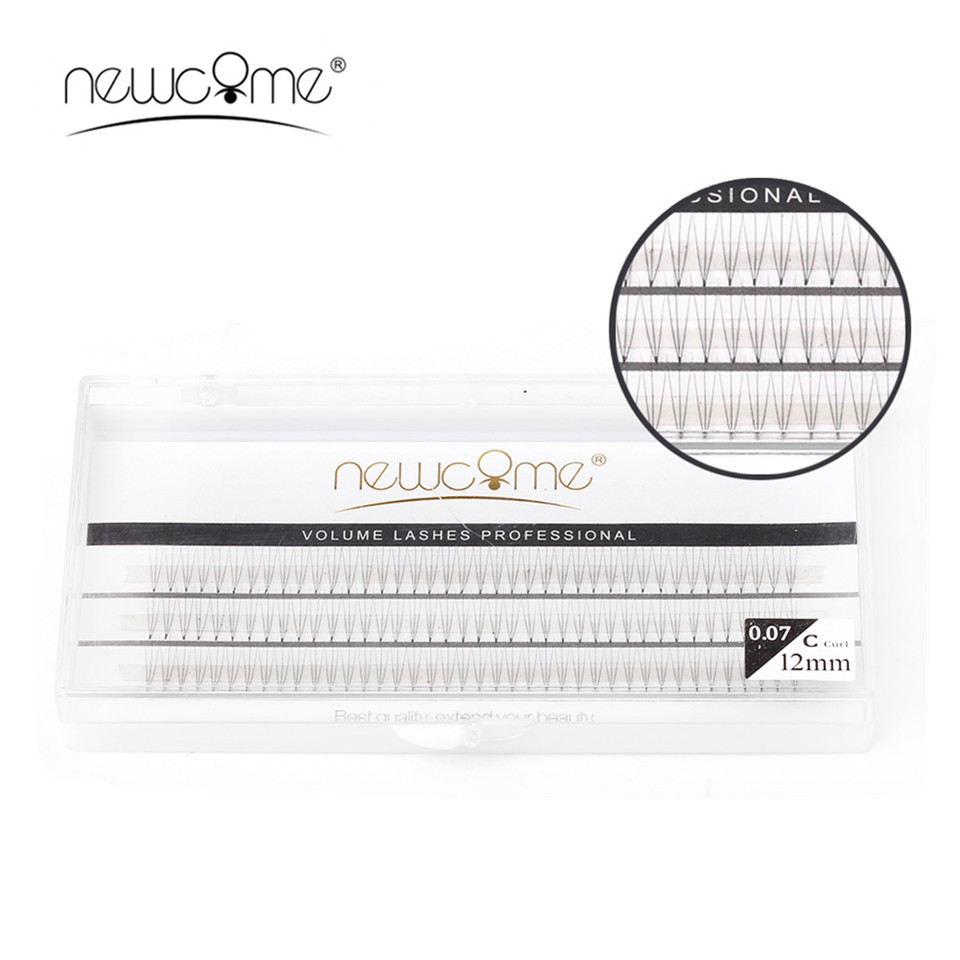 NEWCOME Natural 0.07 C Curl 8mm to 12mm Eyelash Extensions Individual 3D Eyelash Extensions Faux Thick Eye Lashes Make Up Tools