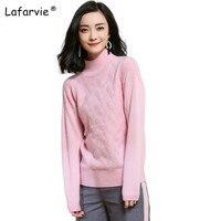 Lafarvie New Autumn Winter Turtleneck Cashmere Sweater Women Argyle Pullover Female Soft Warm Knitted Sweater High