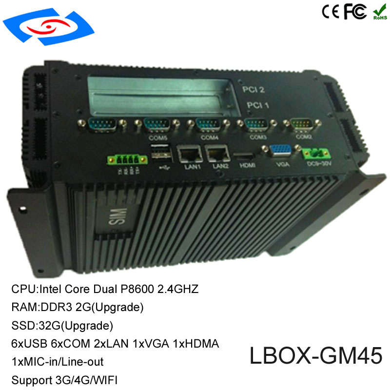 NEWEST Fanless Embedded Pc Itel Core Processor With 2LAN/ 6USB/ 6COM/ VGA+HDMI Industrial Computer