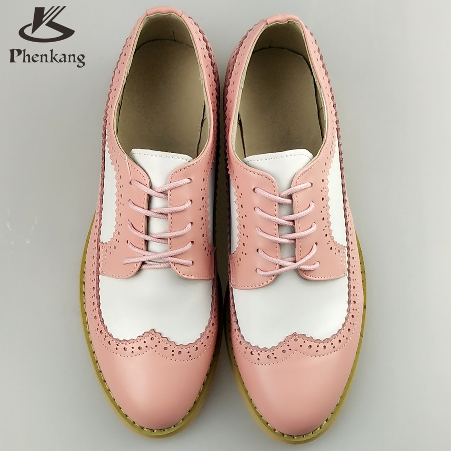 ФОТО Genuine leather big woman US size 11 designer vintage  shoes round toe handmade white pink 2017 oxford shoes for women fur