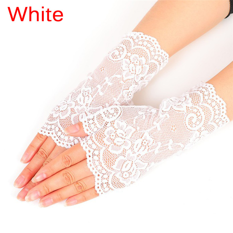 1pair Women Evening Party Dressy Lace Fingerless Gloves Mittens