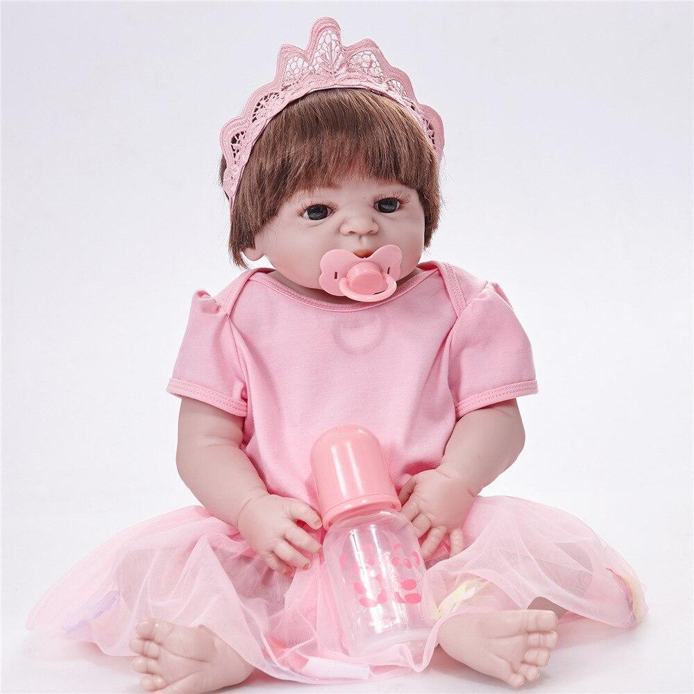 Bébé Reborn 55 cm réaliste Reborn Bebes De Silicone réaliste bébé Reborn Silicone Inteiro Menina bébé poupée pour les filles