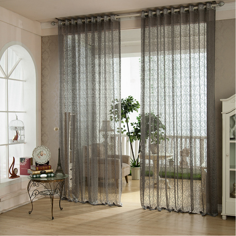 Flocked Window Screens Jacquard Cotton Curtain Home Decoration Living Room Tulle Finished Products Striped Translucent Curtains