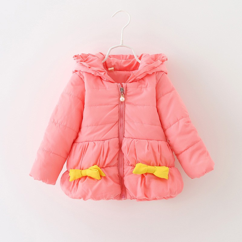 0-36M Winter Baby Coats Long Sleeve Baby Girl Keep Warm Sweet Knot Bow Hooded Coat Infant Kid Jacket Outwear