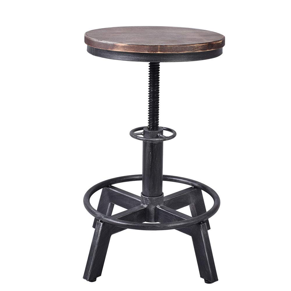 Industrial Bar Stool Vintage Counter Height Chairs Swivel Wooden Seat Adjustable 15.2-21