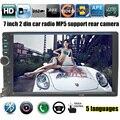 2 DIN 7 Polegada Bluetooth Suporte de Áudio Na Tela de Toque Traço Câmera traseira para SD/USB Rádio Do Carro de Áudio Estéreo MP3 Player MP5 USB