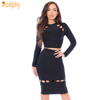 2016 New Women Autumn Black O Neck Long Sleeves Hollow Out Bandage Dress Rayon Two Pieces