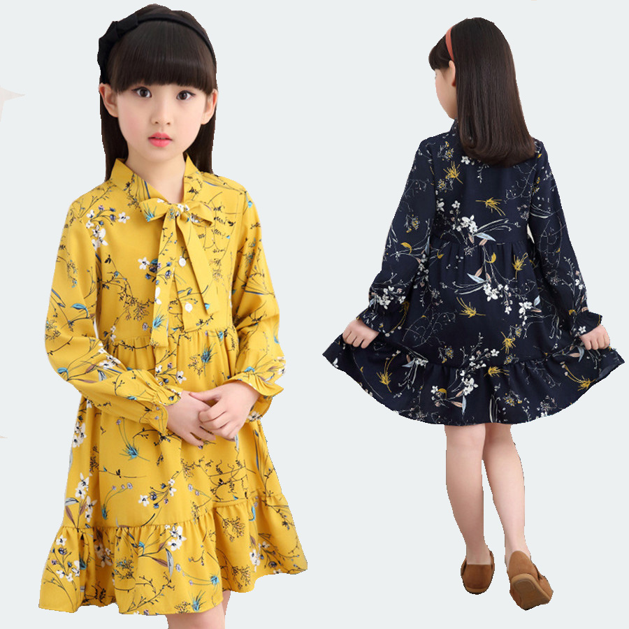 Girls Dresses Age 10 Long Sleeve Cotton Princess Dress For Kids Vintage Spring Print Flower Yellow Girl Dress Children Party New free shipping no game no life stephanie dora rainbow gradient cosplay wigs