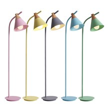 LED Floor Lamp post modern macaron bedroom living room lamp lights Nordic study vertical  E27 colorful deco Standing light
