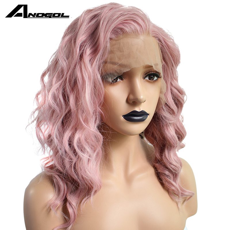 Anogol High Temperature Fiber 360 Frontal Long Deep Wave Full Hair Wigs Pink Synthetic Lace Front