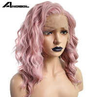 Anogol Pink Synthetic Lace Front Wig High Temperature Fiber Long Deep Wave Full Hair Wigs For White Women With Free Part