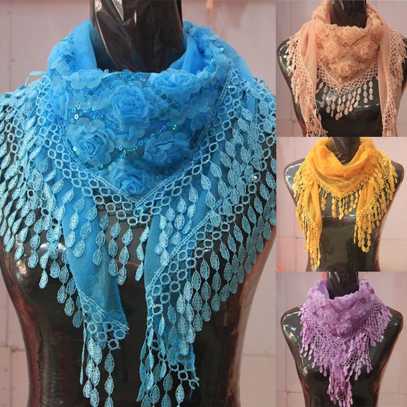 Fashion Women Sheer Chiffon Embroidered Scarves Shawl All-Match Tassel Silk Flower Sequin Scarf Female