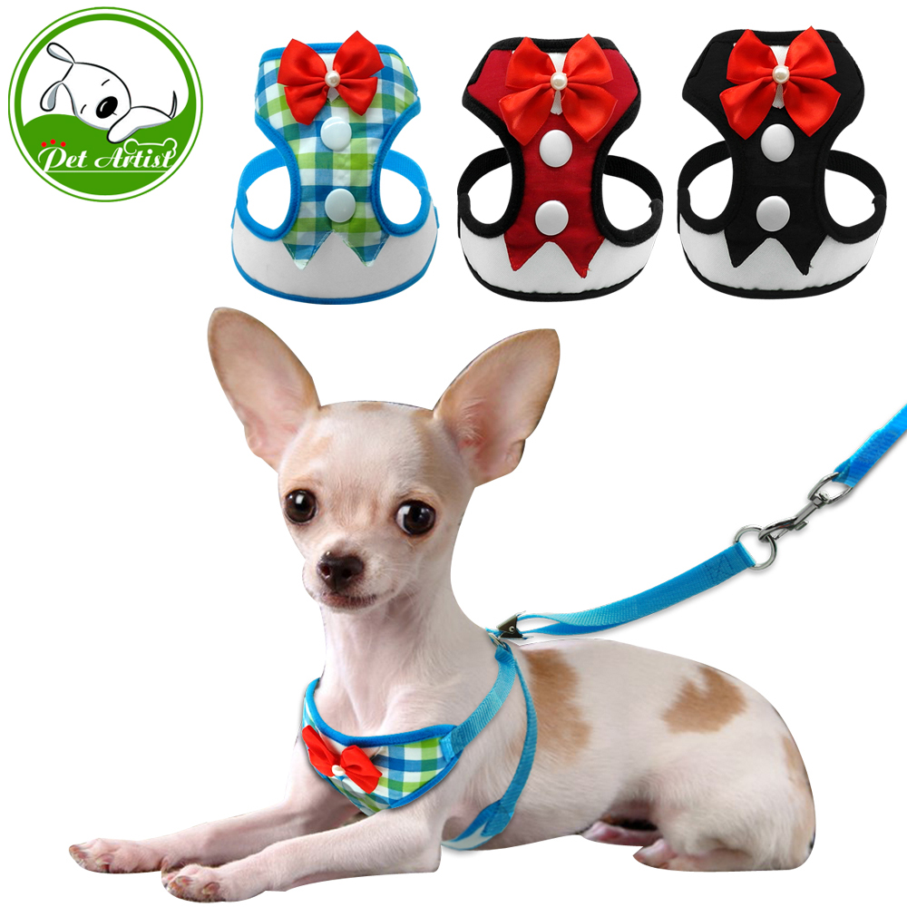 Gentleman Red Bowtie Small Pet Harness For Puppy Dog&Cat Tuxedo Mesh Dog Vest Leash Leads Set For Chihuahua Yorkie S M L