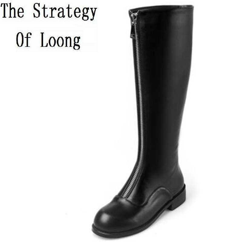Women Autumn Winter Height Increase Elevator Genuine Leather Round Toe Zipper Fashion Over The Knee Boots SXQ1012 riding winter boots feathers 2015 new fashion korean metal decoration genuine leather elevator pull on pure color round toe
