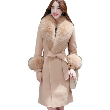 New Fashion Fur Collar Long Wool Coat Women Elegant Maxi Woolen Coat Manteau Femme Belt Warm Overcoat Autumn Winter Coat C4894